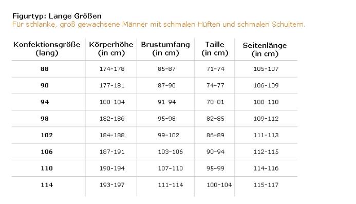 Größentabelle Herren Lang & Schlank