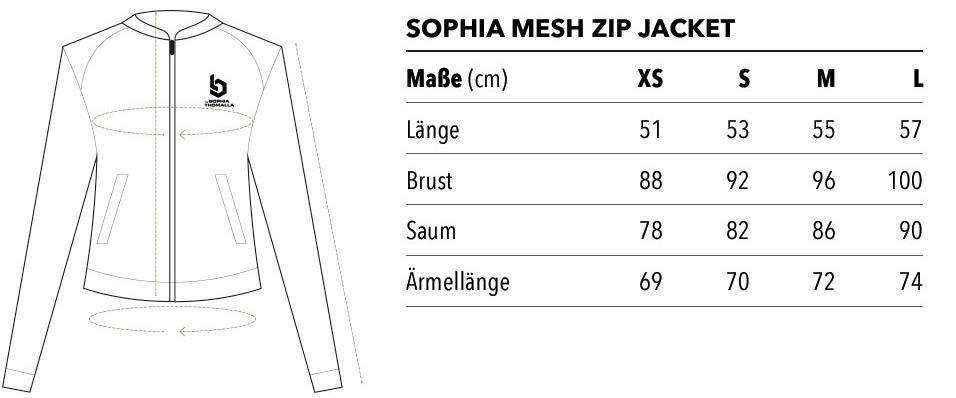 Sophia Mesh Zip Jacket Größen