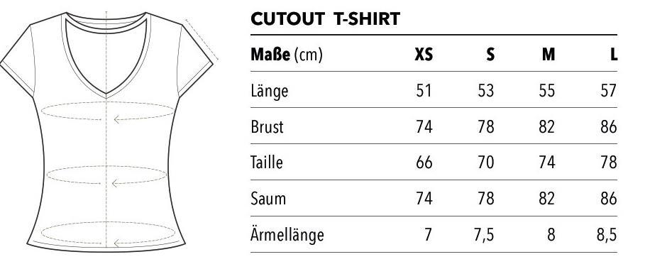 cutout T-Shirt Größentabelle