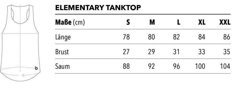 elementary tank tops Größentabelle