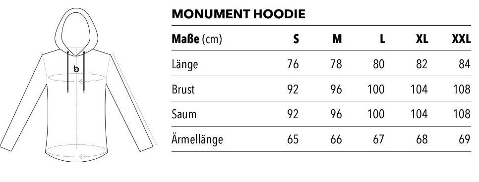 monument hoodie größentabelle