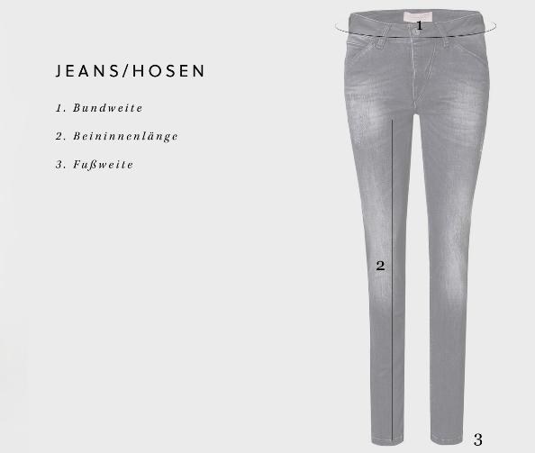 Damen Jeans Hosen Größentabelle