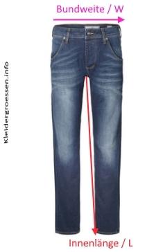 jeans L und W Längen Größen