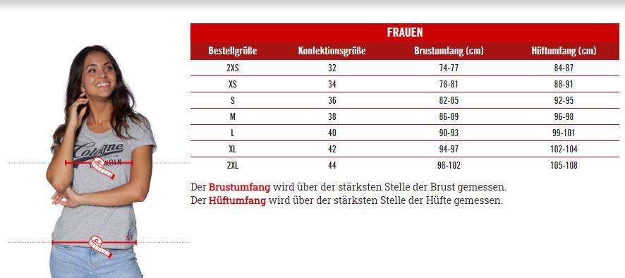 1.FC Köln Frauen Größentabelle