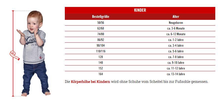 1.FC Köln Kinder Größentabelle
