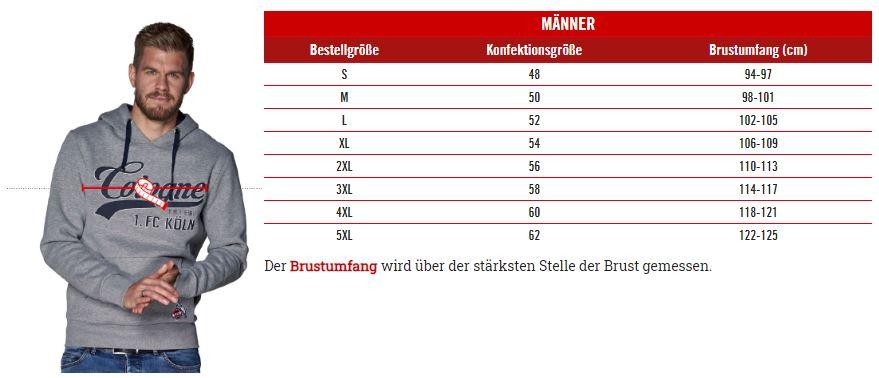 1.FC Köln Männer Größentabelle
