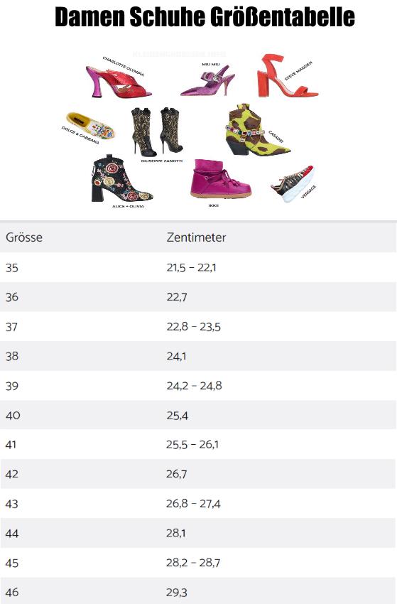 Damen Schuhe Größentabelle