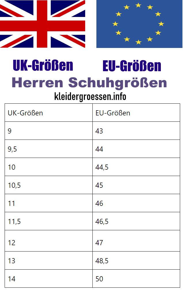 UK-EU-Herren-Schuhgroessen